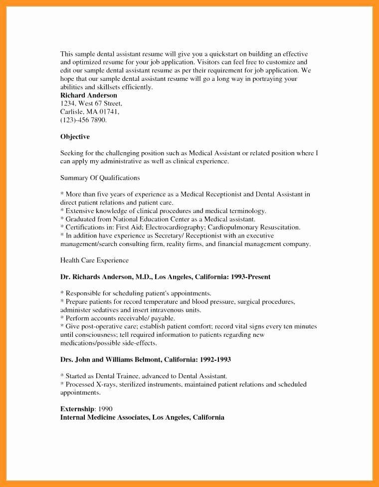 10 11 Dental assistant Externship Resume