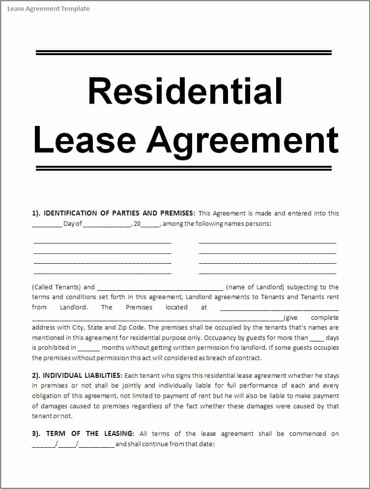 10 Apartment Rental Lease Agreement form Word – Project