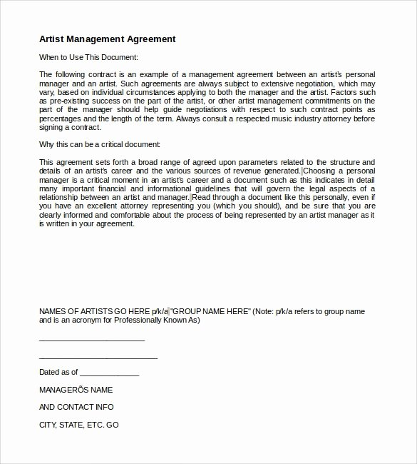 10 Artist Management Contract Templates to Download for