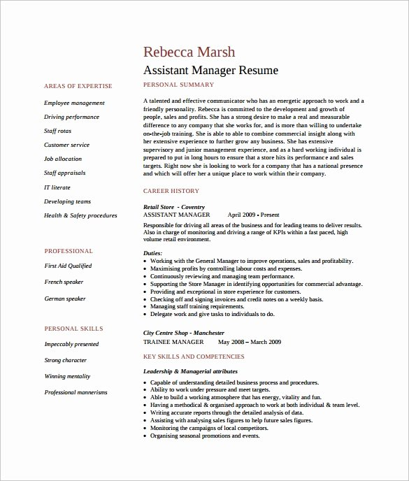 10 assistant Manager Resume Templates
