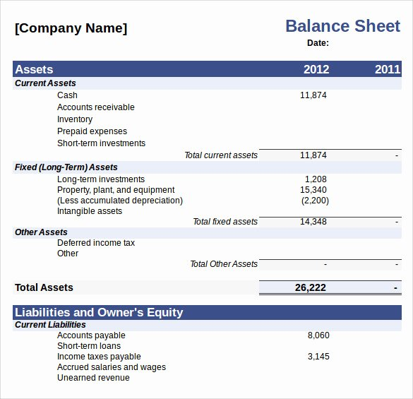 10 Balance Sheet Samples