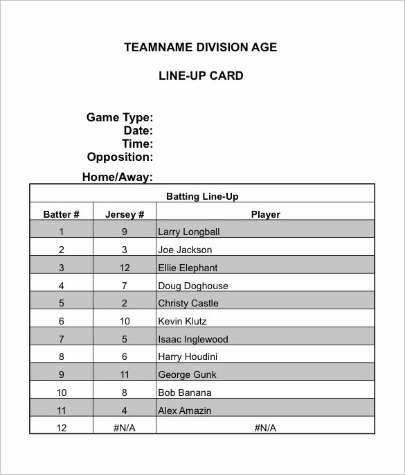 10 Baseball Line Up Card Templates Doc Pdf