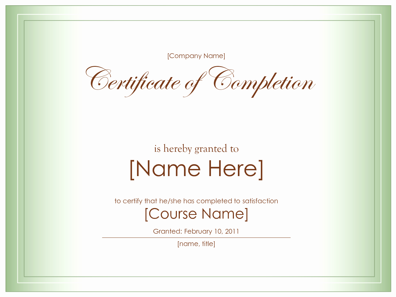10 Best Certificate Pletion Template Blank