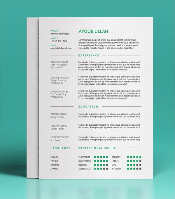 10 Best Free Resume Cv Templates In Ai Indesign & Psd