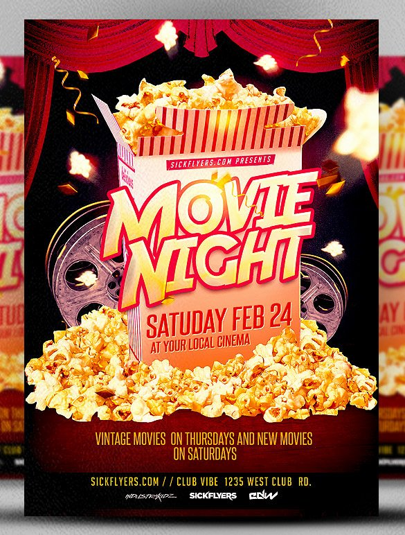 10 Best Movie Night Flyer Template & Psd Designs