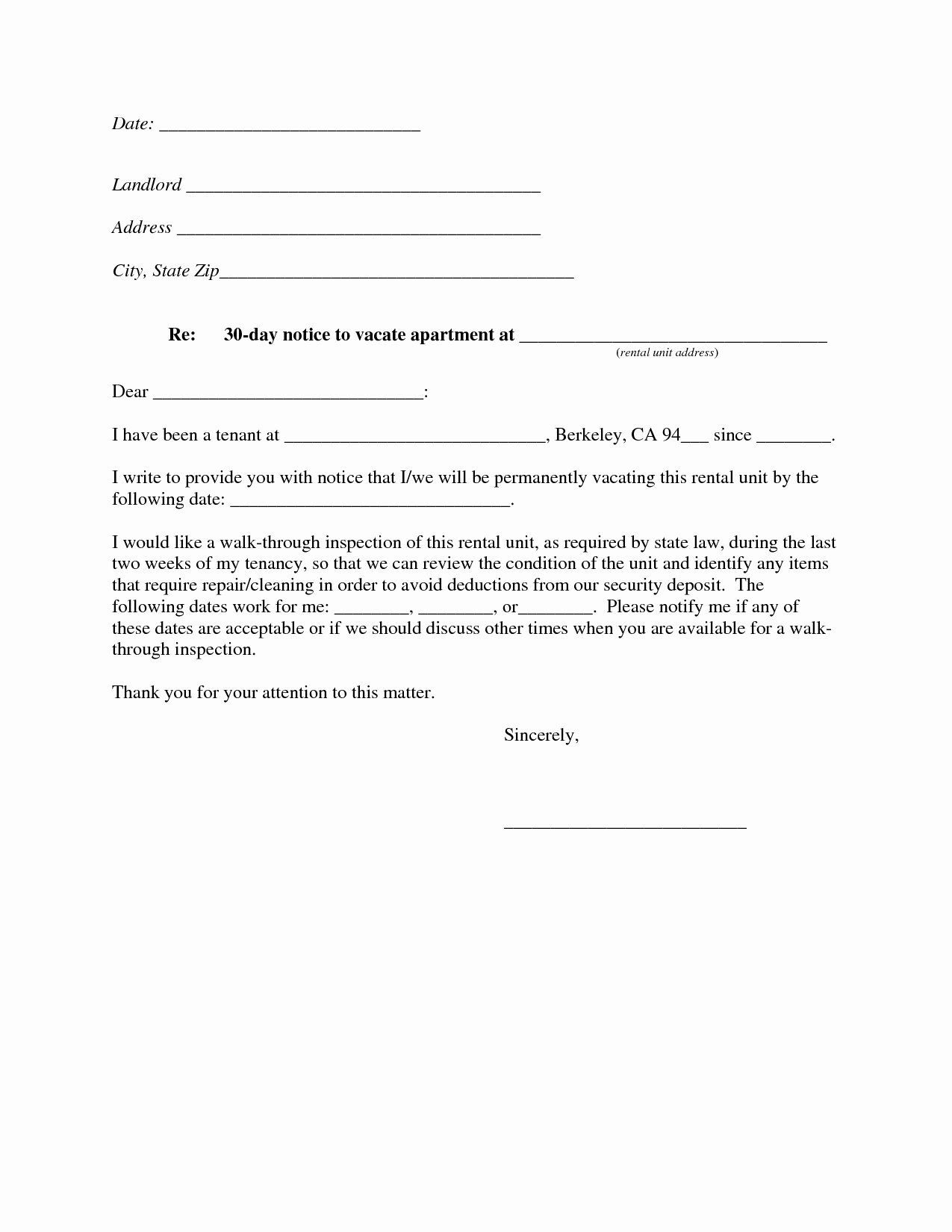 10 Best Of 30 Day Notice Template 30 Day Notice
