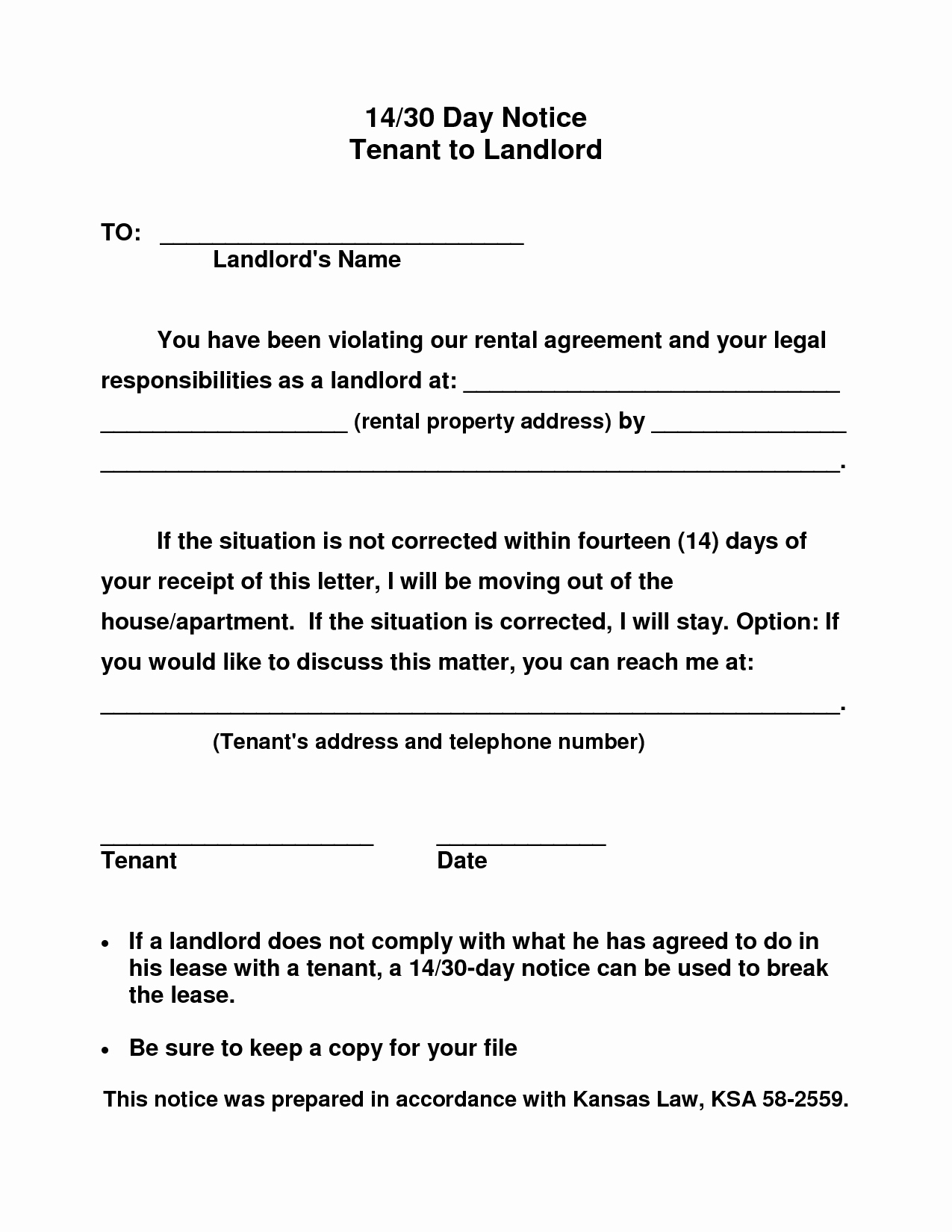 10 Best Of 30 Day Notice to Landlord Template