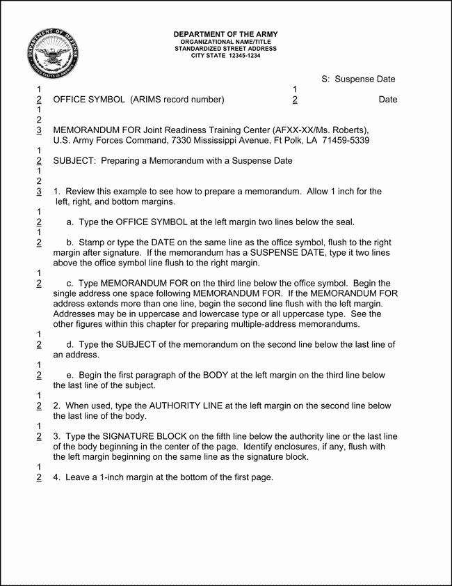 10 Best Of Army Informal Memorandum Example
