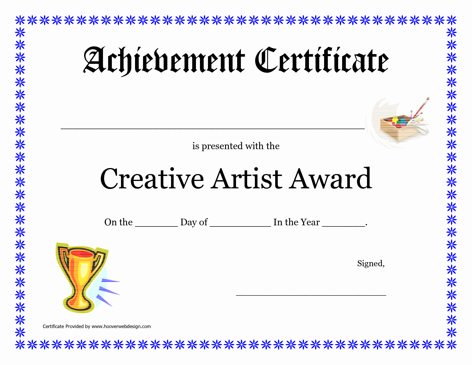 10 Best Of Art Award Certificate Blank Art Award