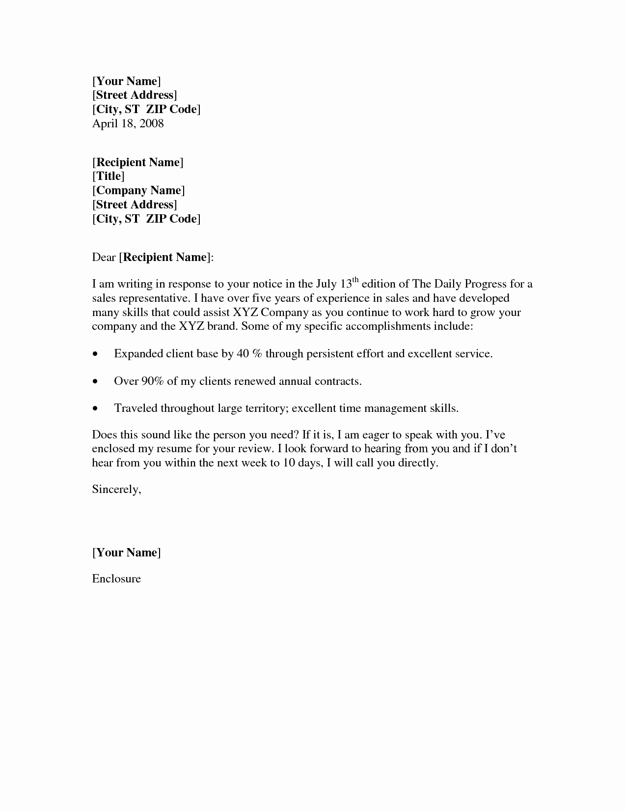 10 Best Of Basic Cover Letter for Resume Sample