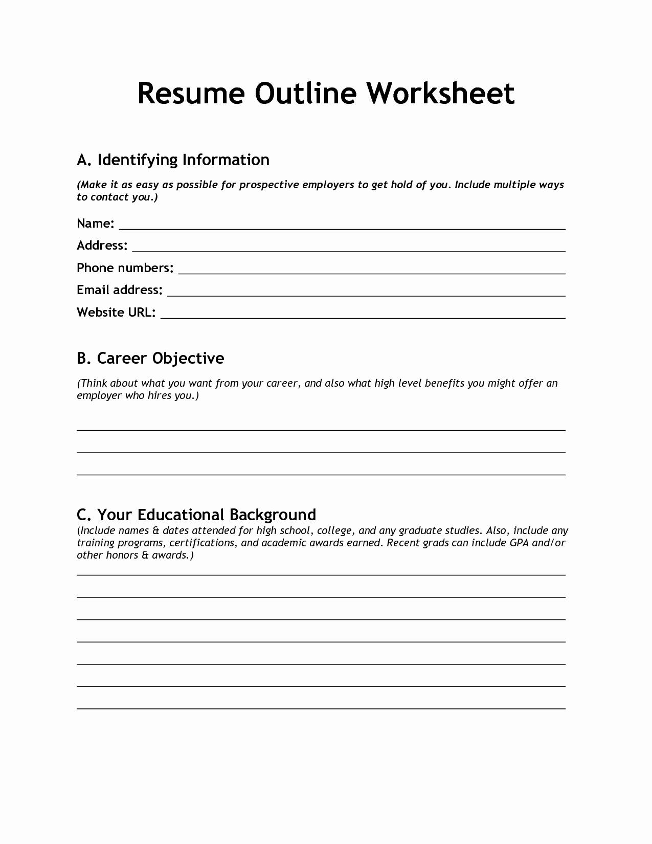 10 Best Of Blank Resume Template Worksheet Free