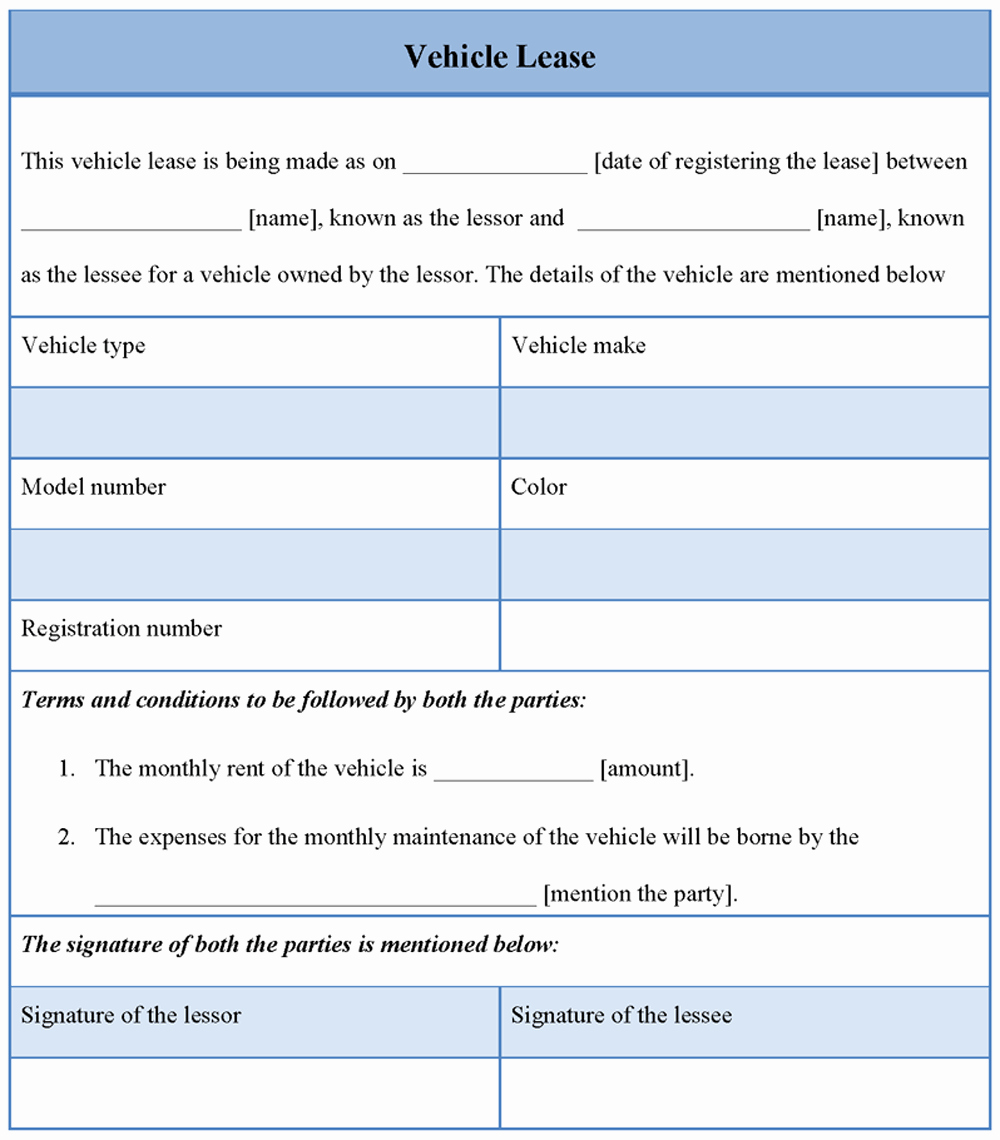 10 Best Of Car Lease Agreement form Vehicle Lease