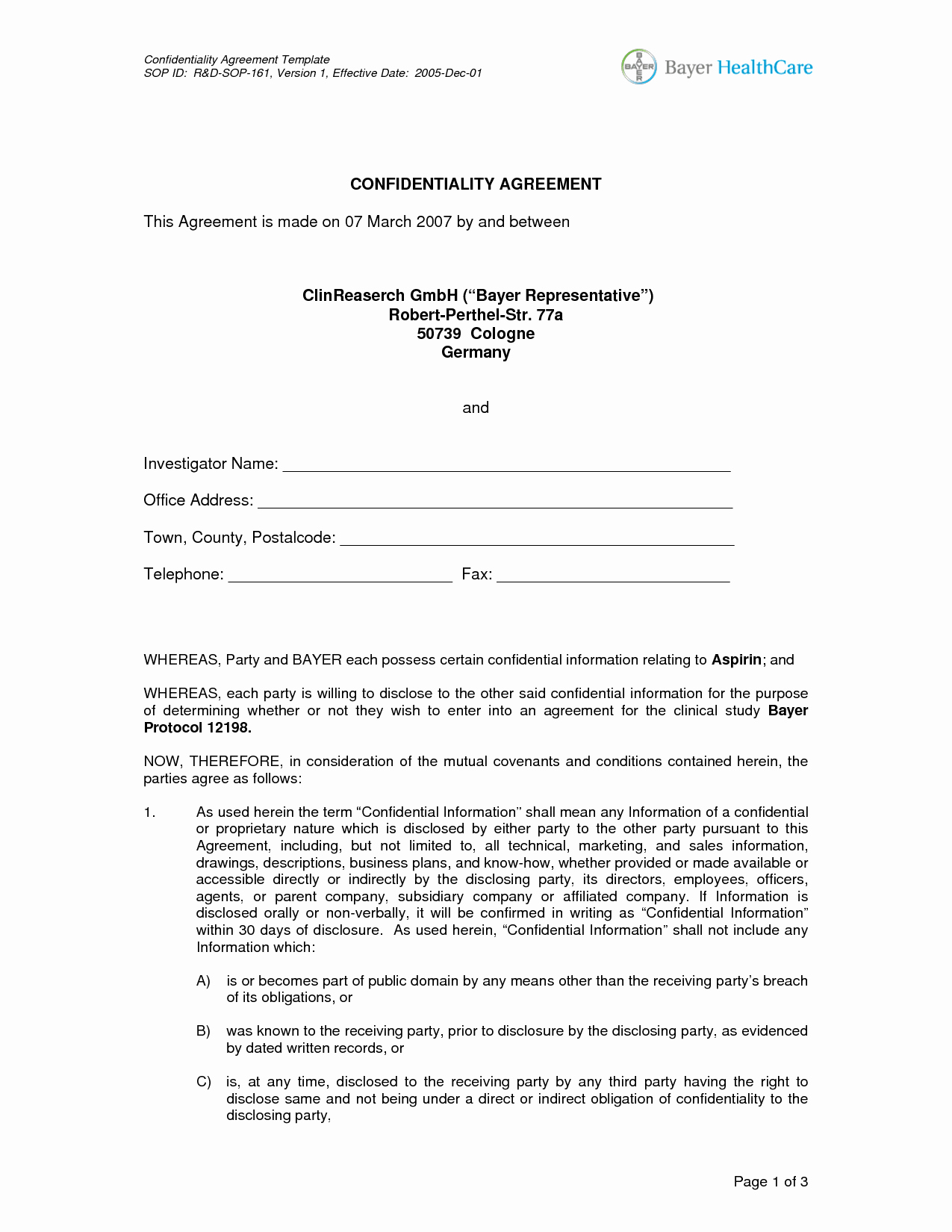 10 Best Of Confidentiality Agreement Template