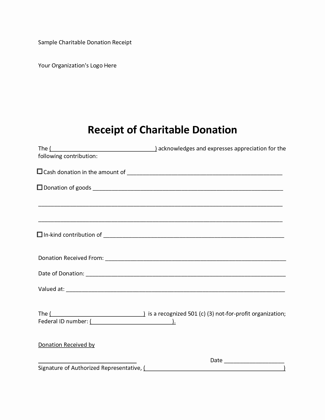 10 Best Of Donation Receipt Template Donation