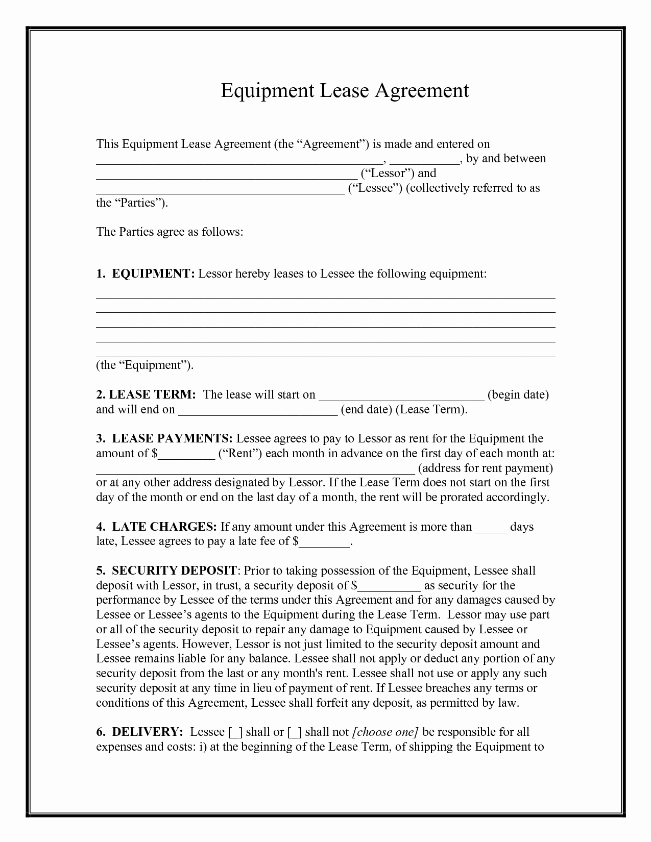 10 Best Of Equipment Rental Agreement Template Free