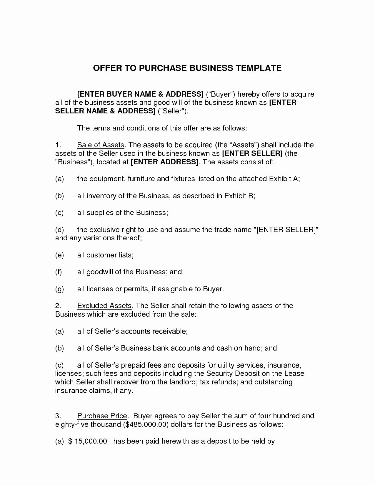 10 Best Of Fer to Purchase Agreement Template