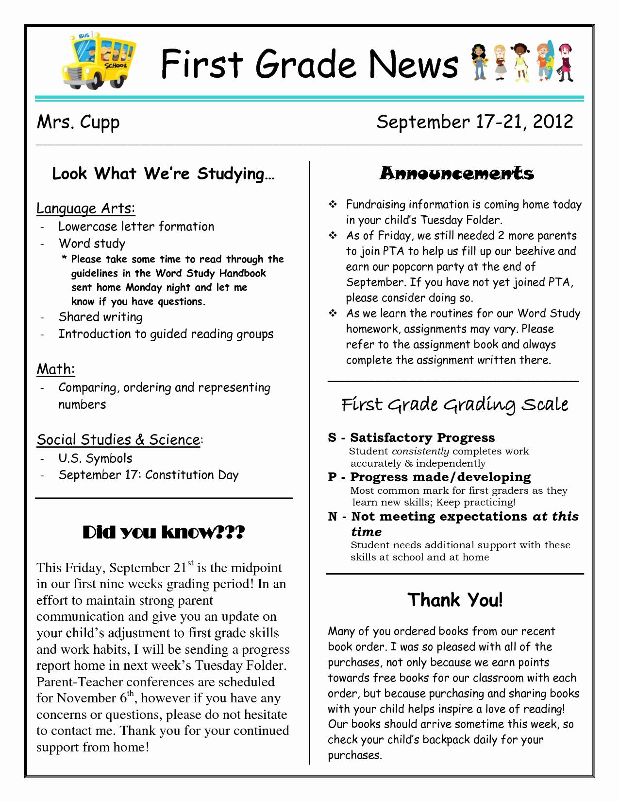 10 Best Of First Grade Classroom Newsletter