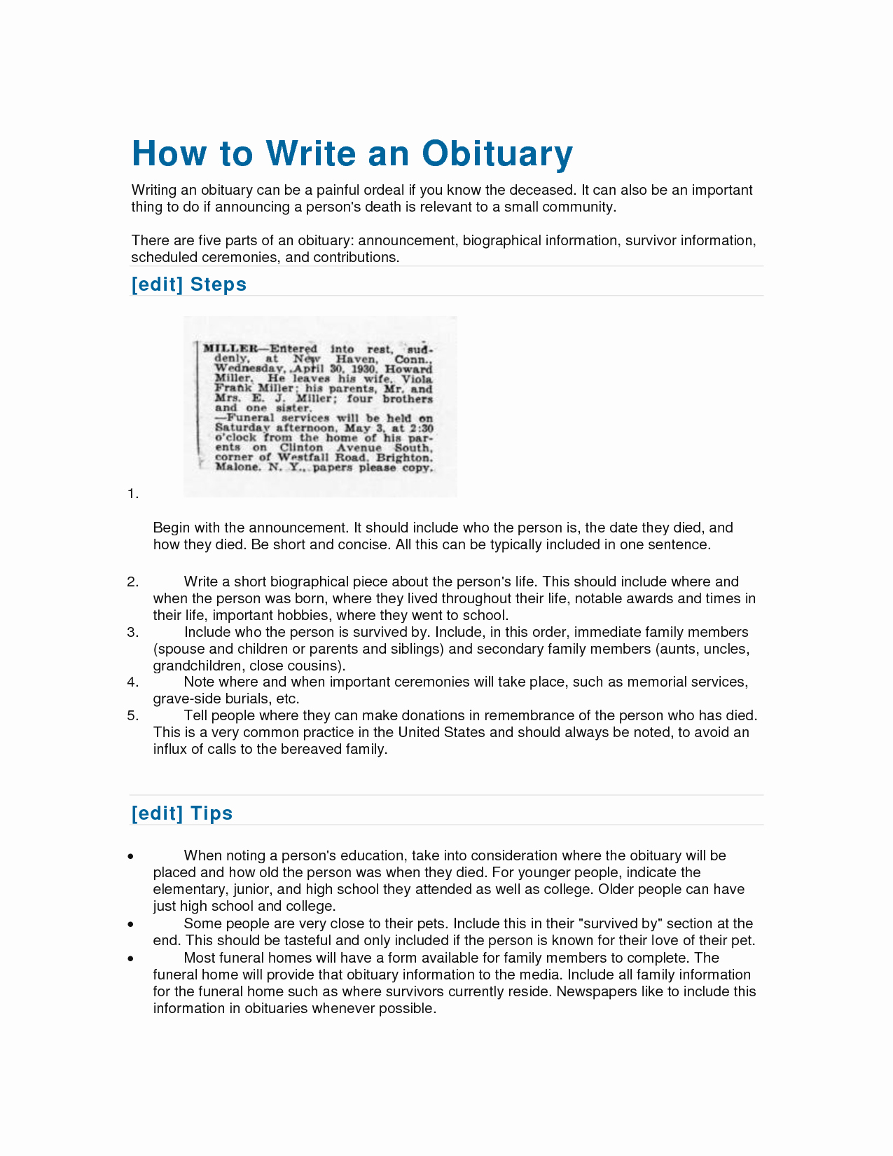10 Best Of format to Write An Obituary How to