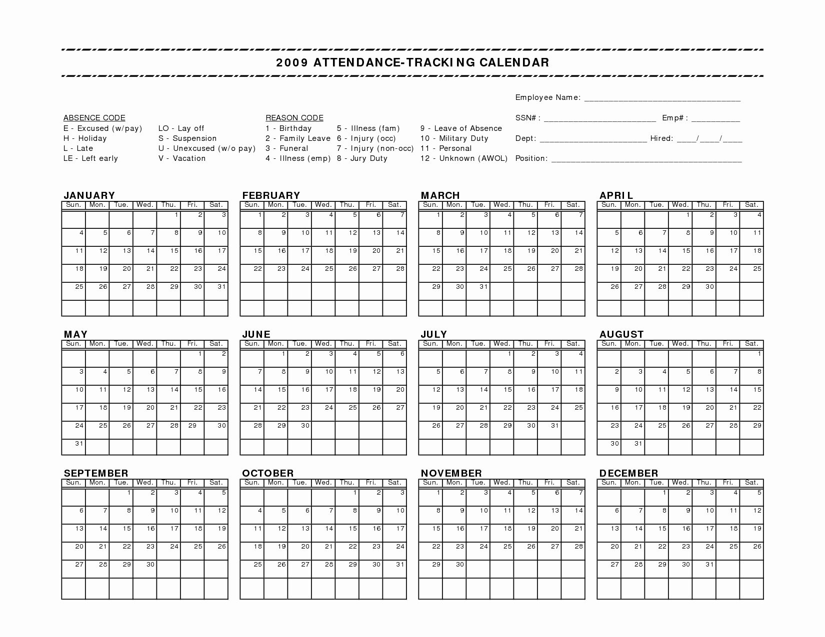 10 Best Of Free Employee attendance Calendar form