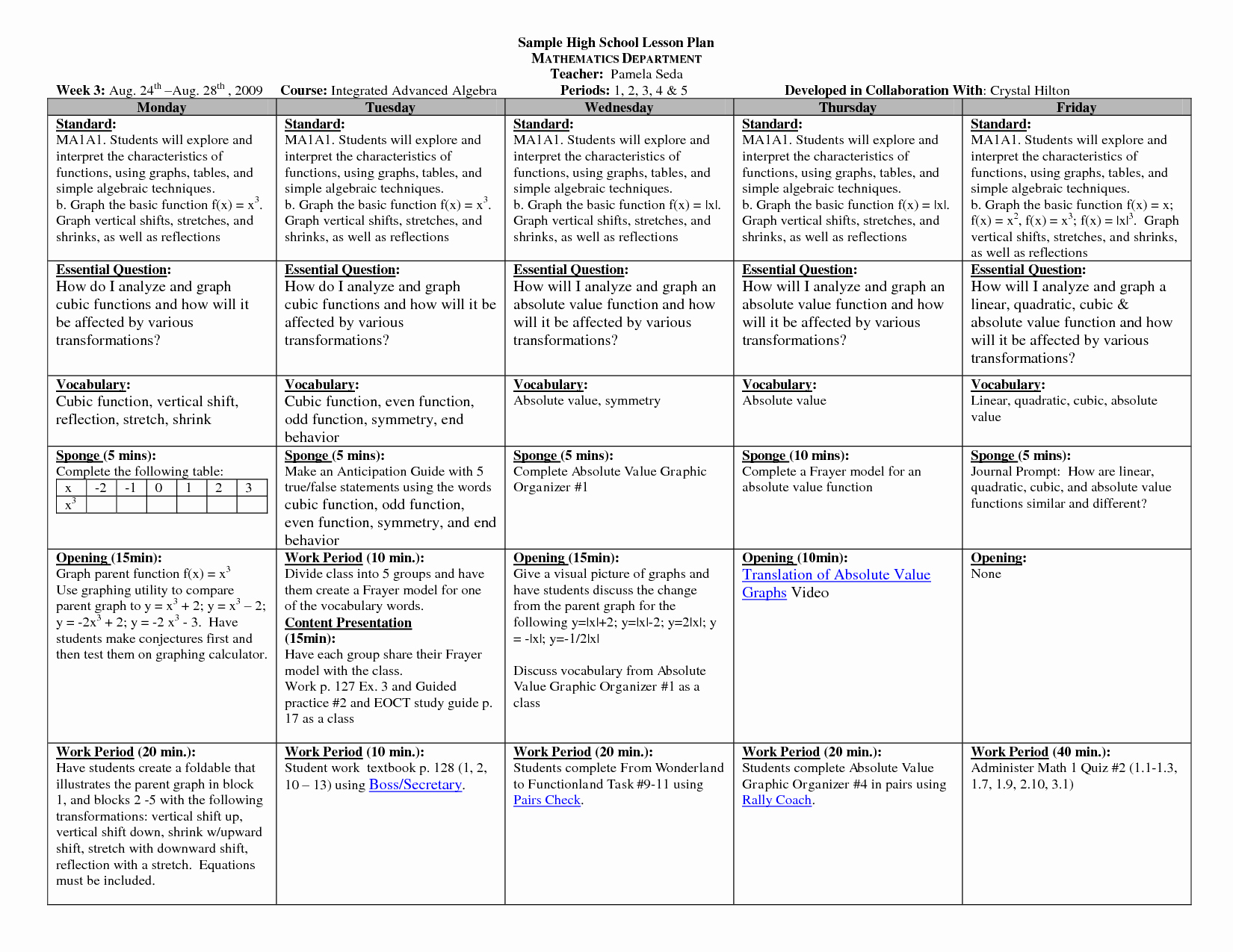 10 Best Of High School Lesson Plan forms High
