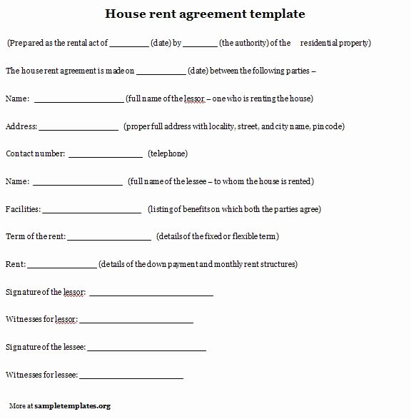 10 Best Of House Rental Agreement Template House