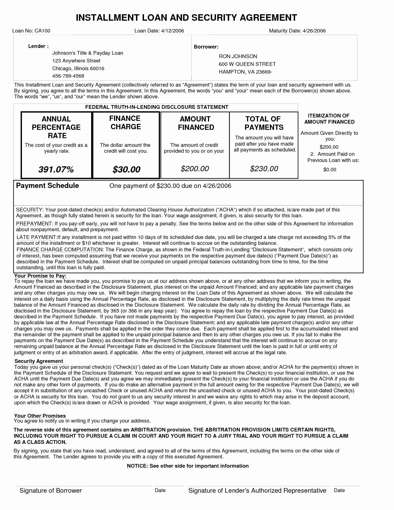 10 Best Of Installment Loan Agreement Template