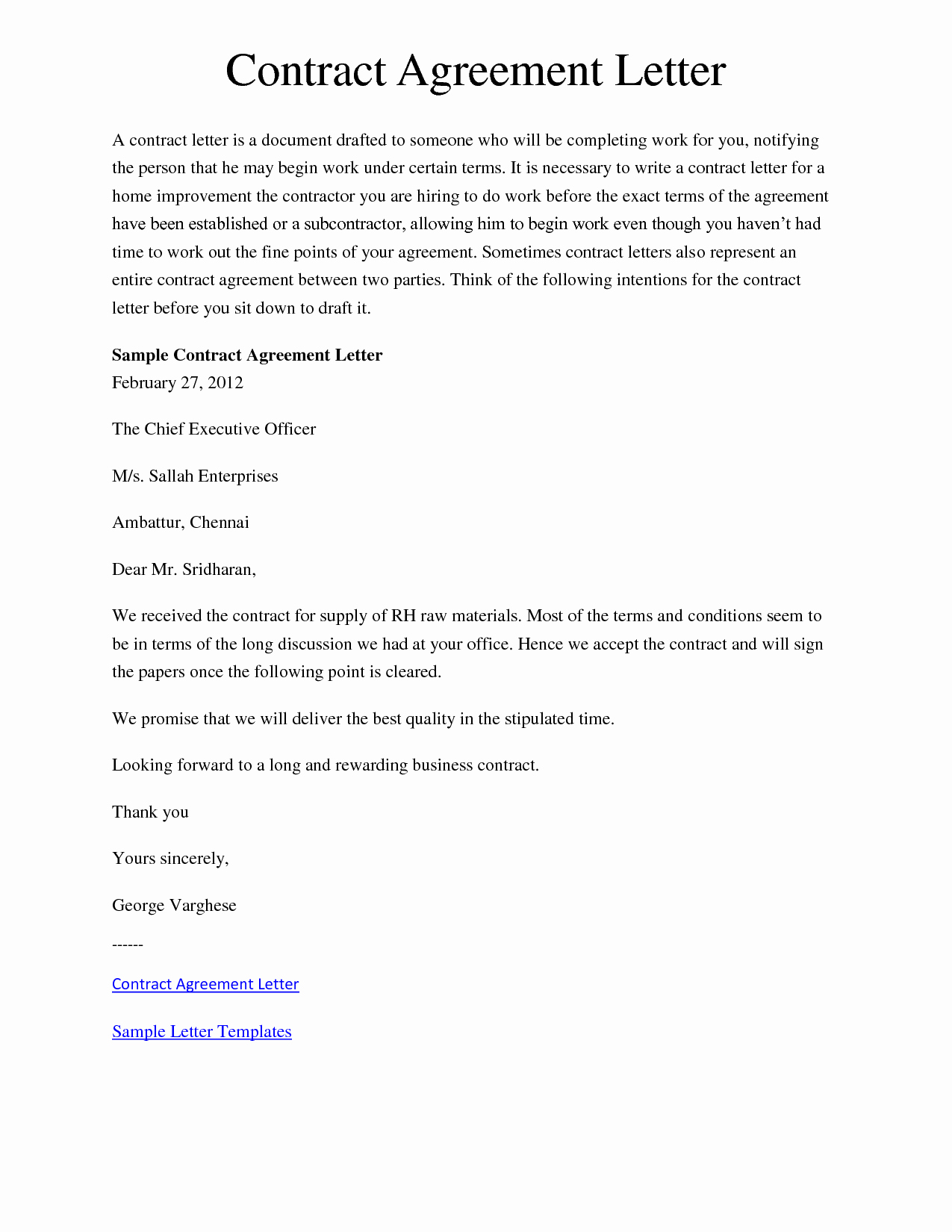 10 Best Of Letter Understanding and Agreement