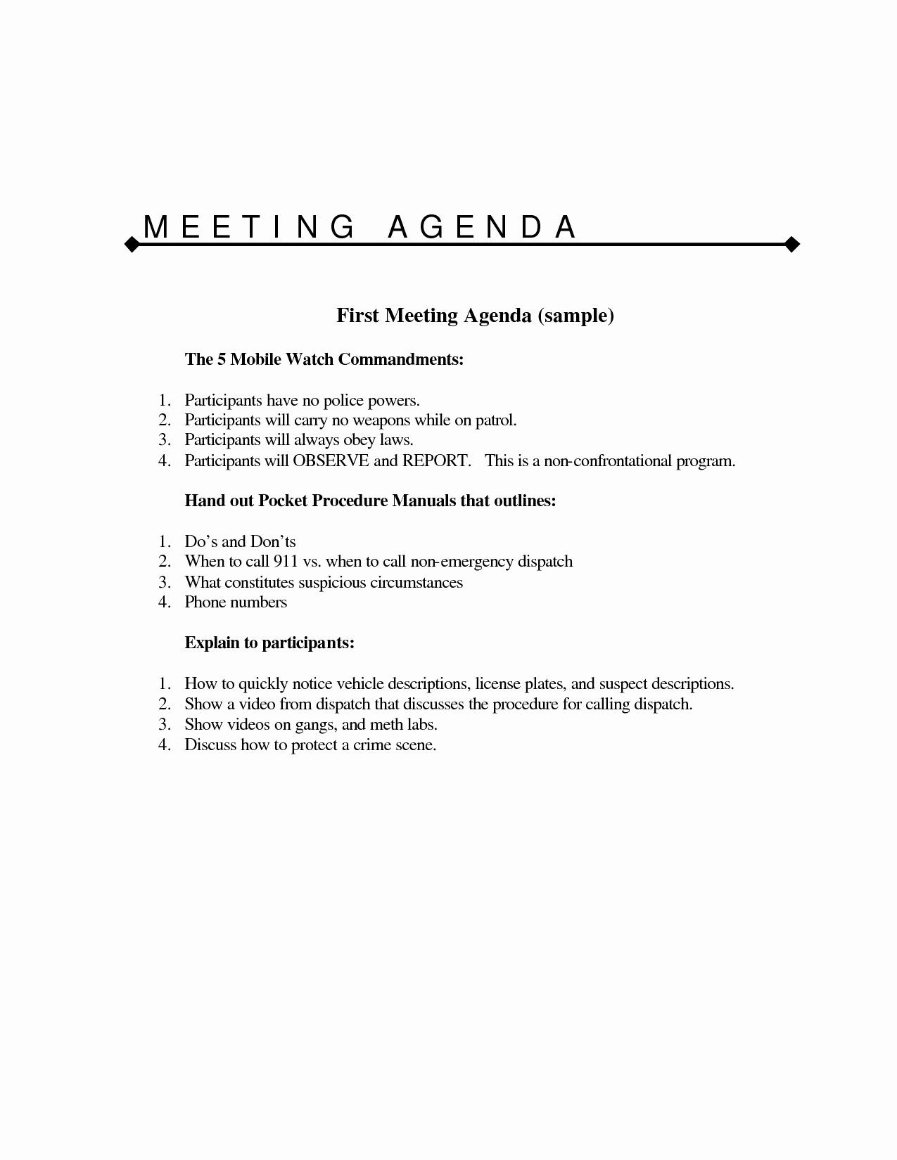 10 Best Of Meeting Agenda Sample Sample Team