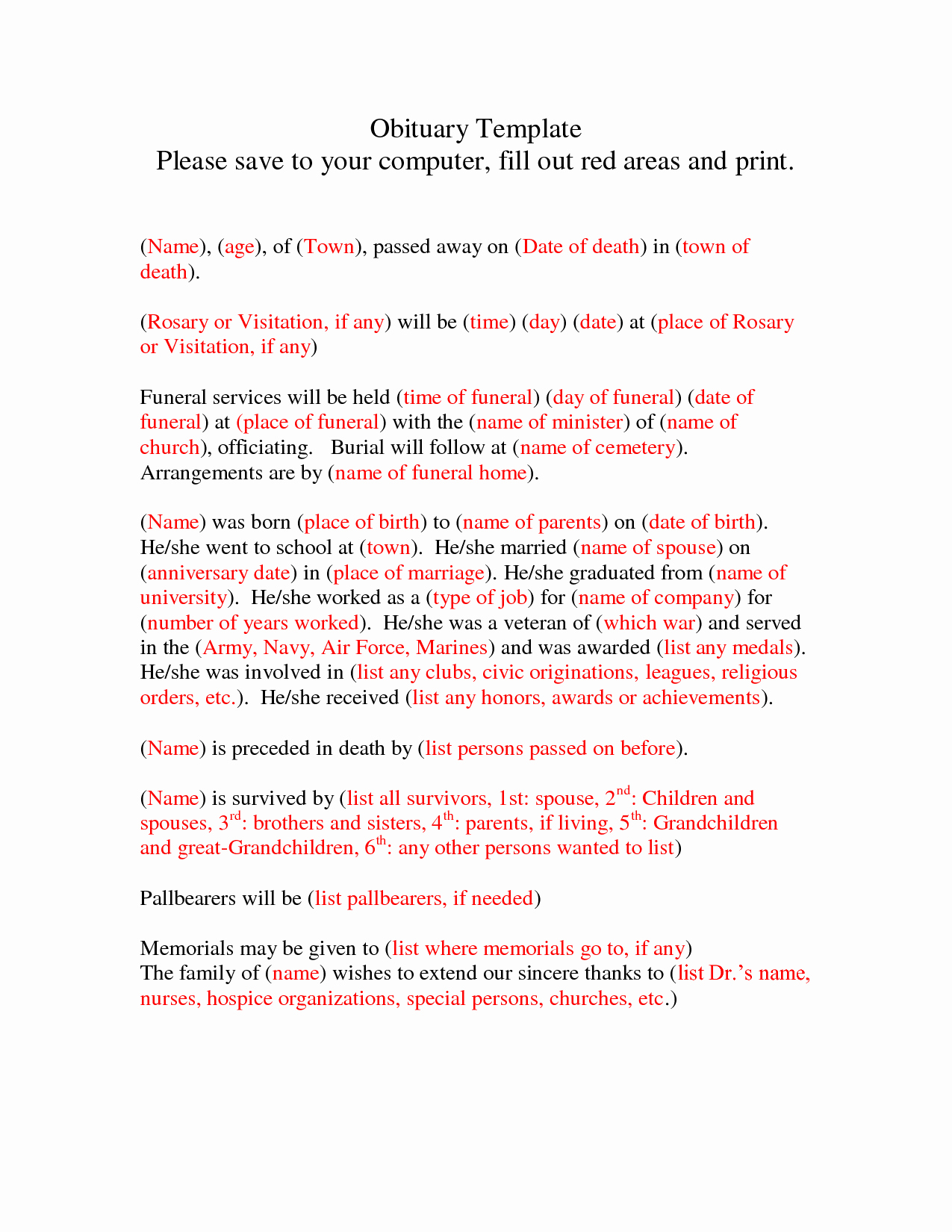 10 Best Of Obituary Template for Printing Free
