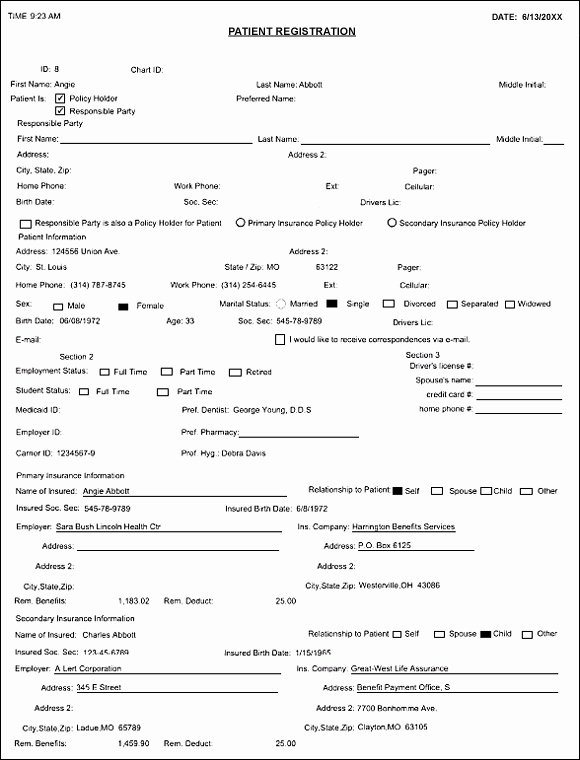 10 Best Of Patient Medical Chart forms Example
