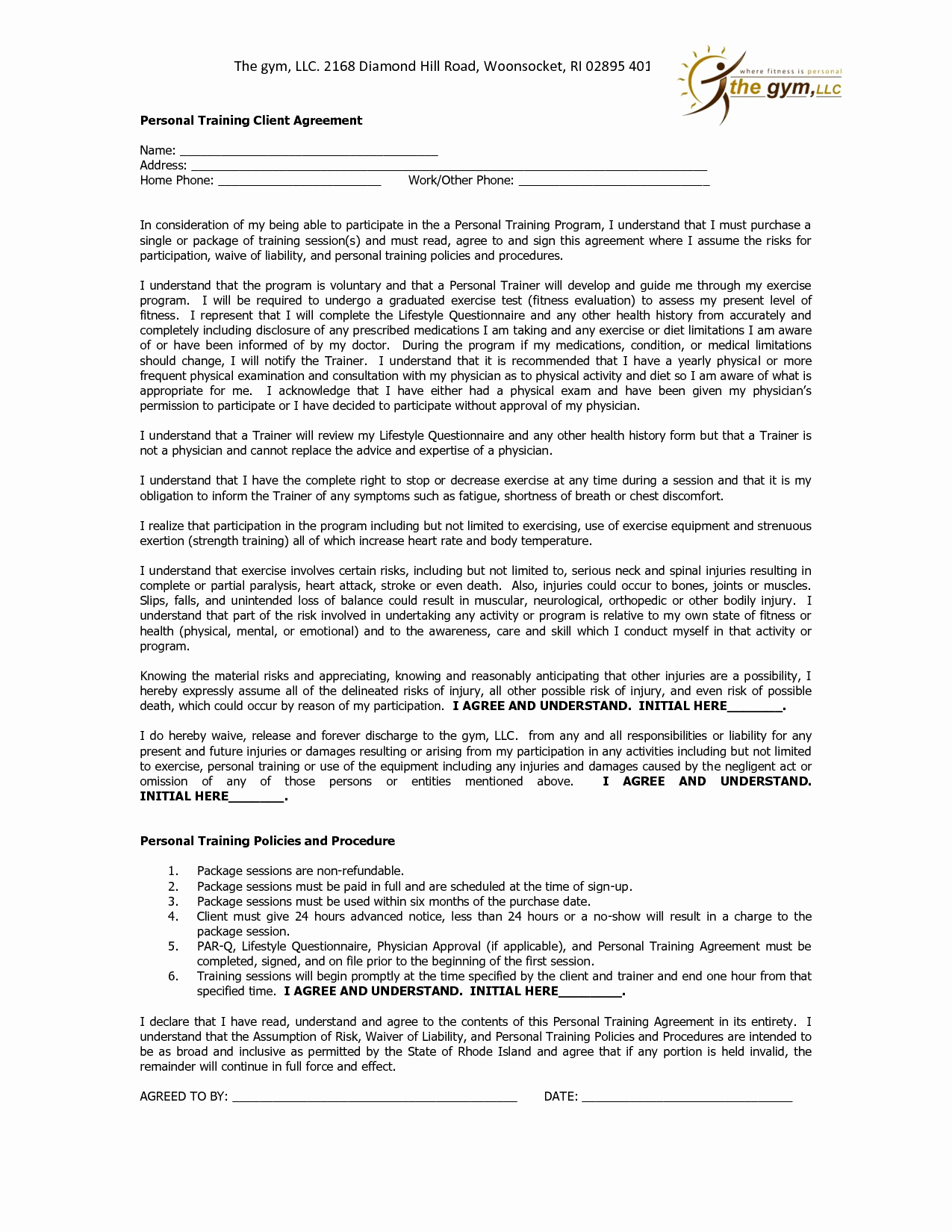 10 Best Of Personal Training Agreement form