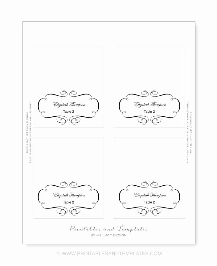 10 Best Of Place Card Template Printable