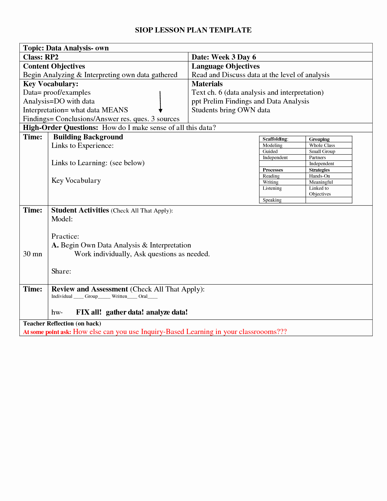 post siop lesson plan template 3