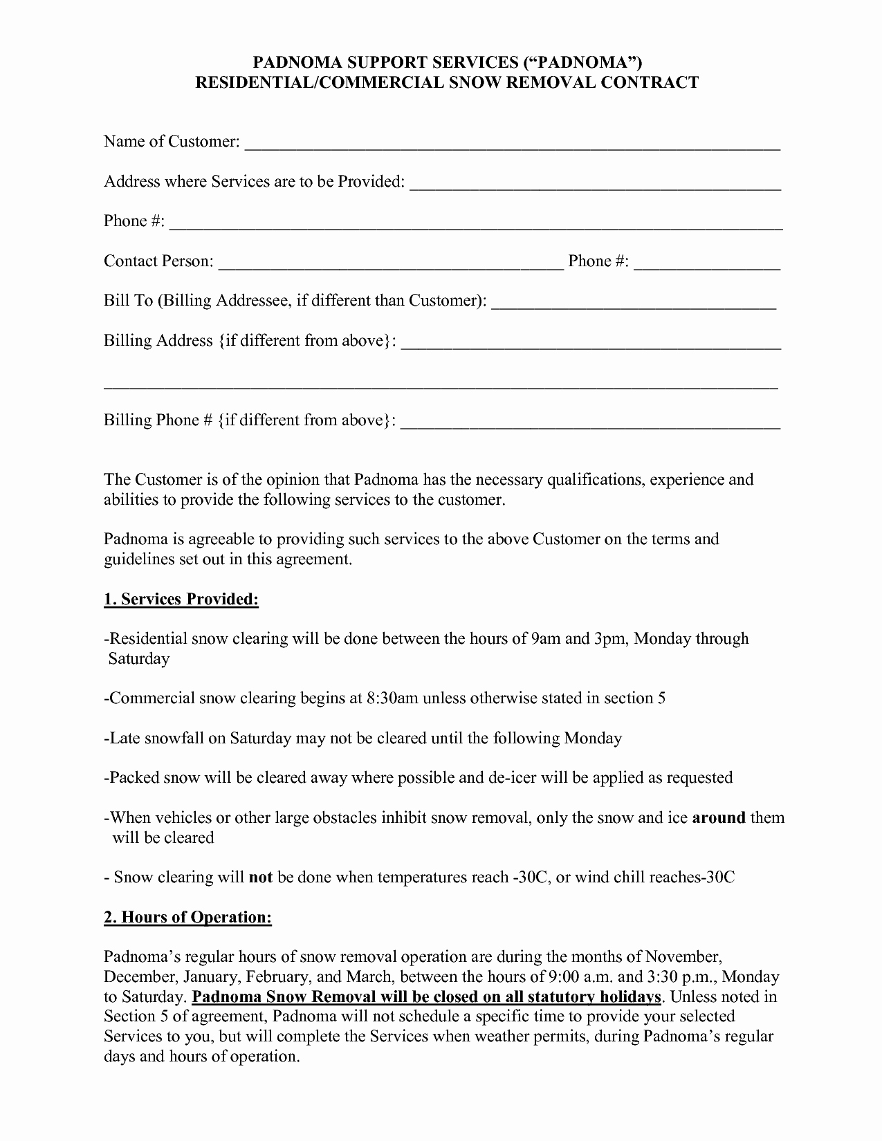 10 Best Of Snow Plow Proposal forms Snow Removal