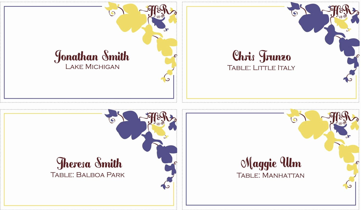 10 Best Of Table Place Card Templates Table Place