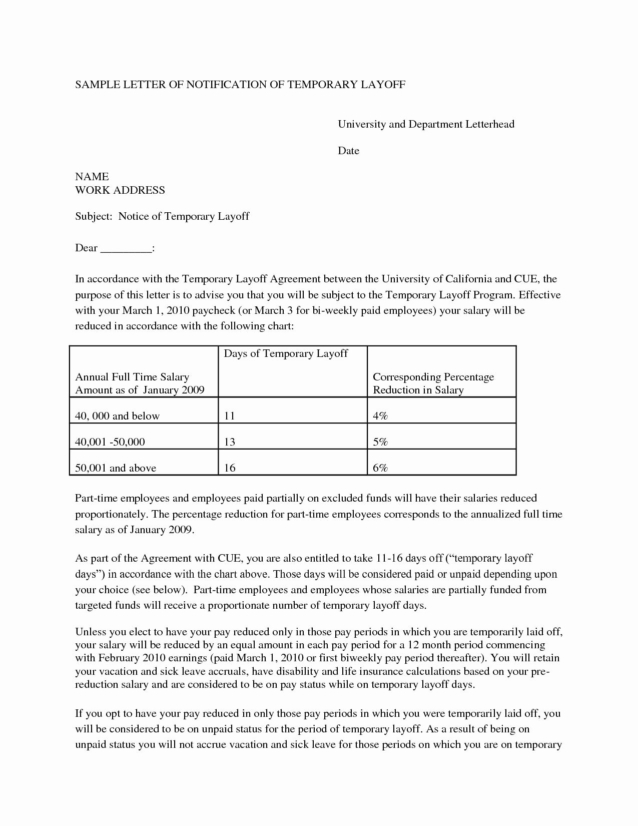 10 Best Of Temporary Layoff Notice Template