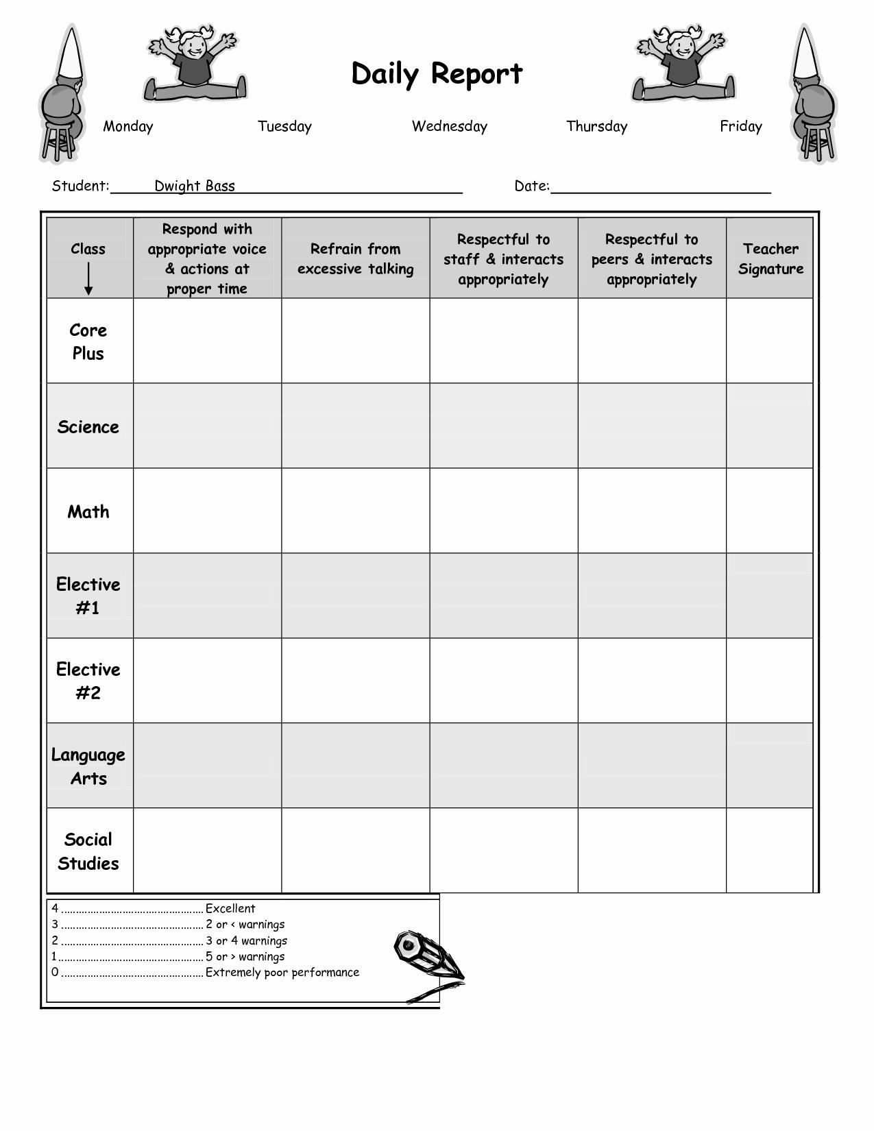 10 Best Of Weekly Behavior Chart Printable