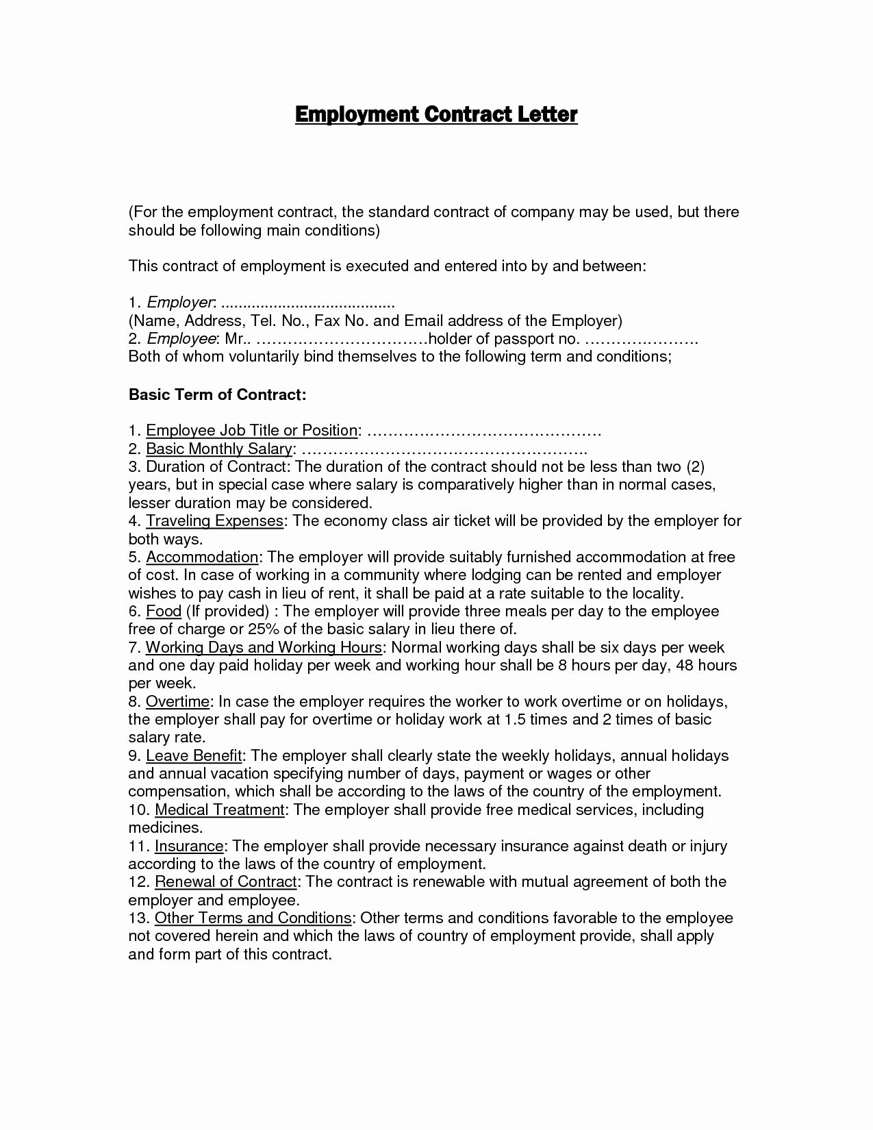 10 Best Of Work Agreement Letter Employment