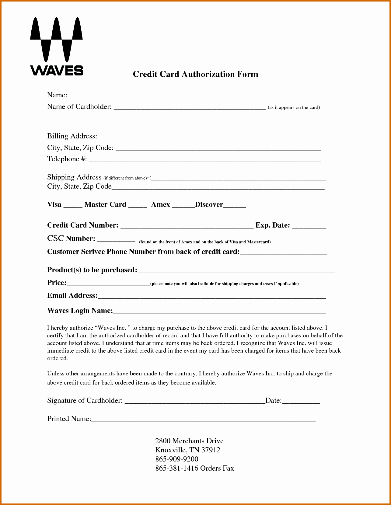 10 Blank Credit Card Authorization form Pdf