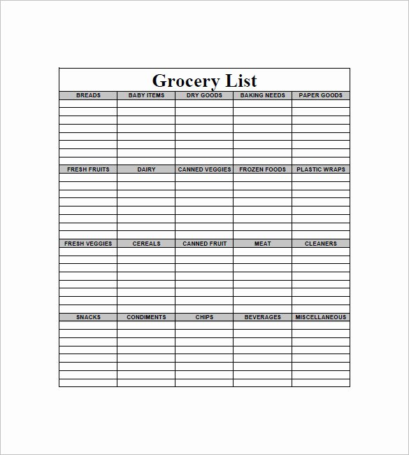 10 Blank Grocery List Templates Pdf Doc Xls