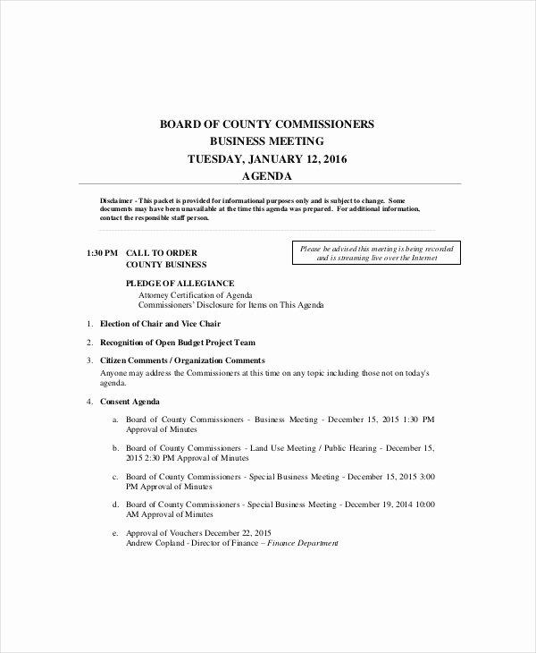 10 Business Meeting Agenda Templates – Free Sample
