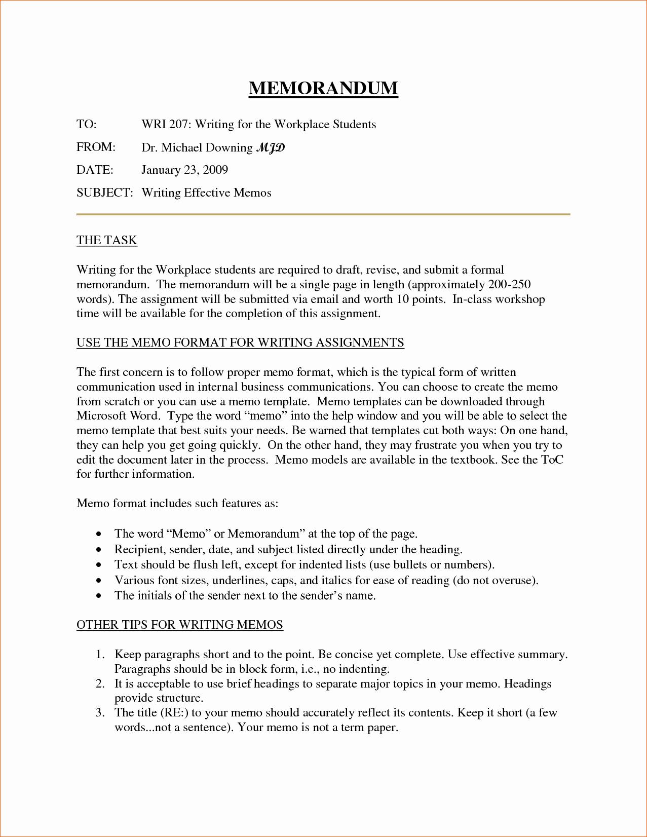 10 Business Memorandum format