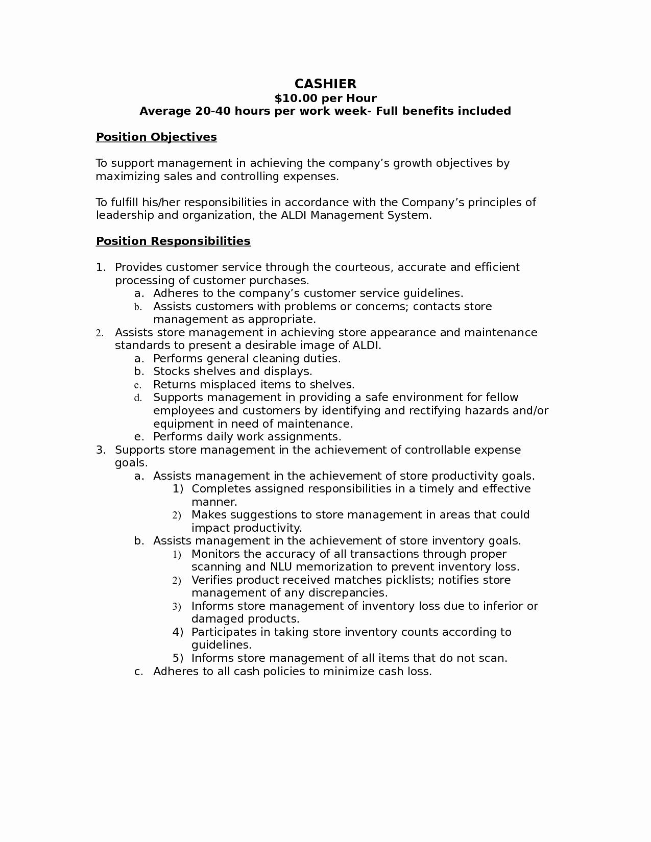 10 Cashier Job Description For Resume Sample Latter Example Template