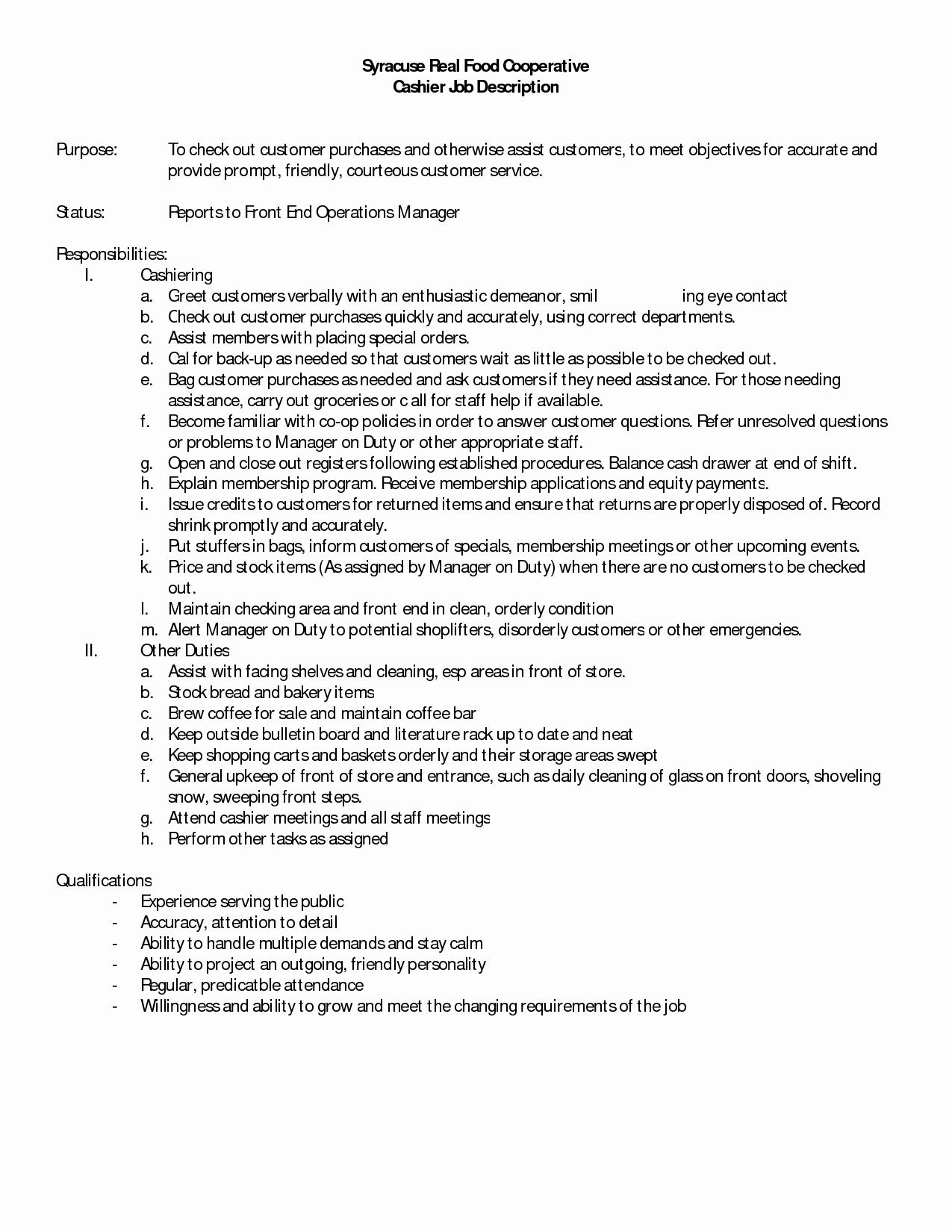 10 Cashier Job Description for Resume Sample