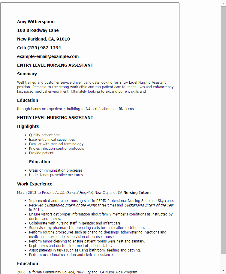 10 Certified Nursing assistant Resume Examples