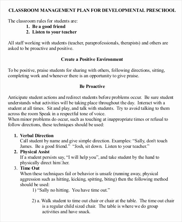 10 Classroom Management Plan Templates Free Sample