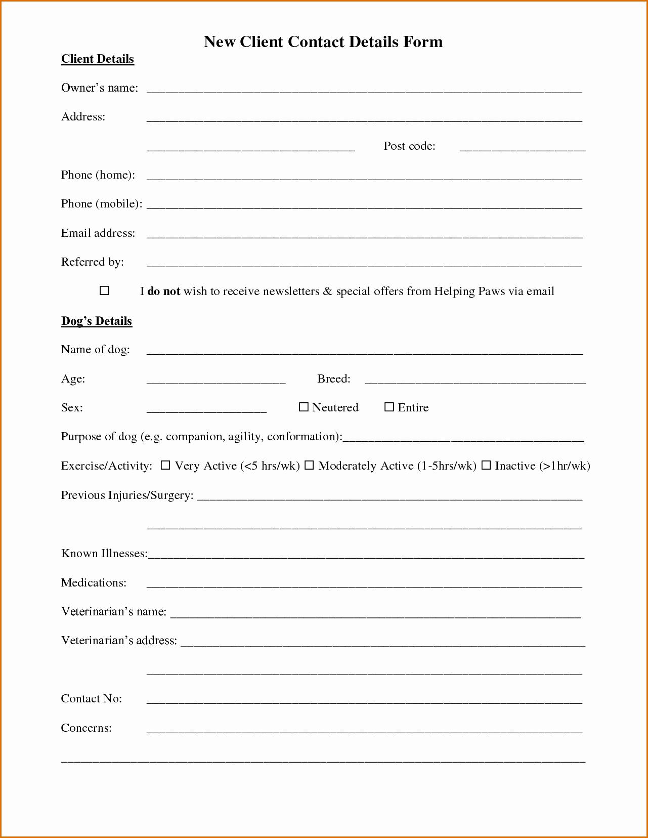 10 Client Information Sheet Template
