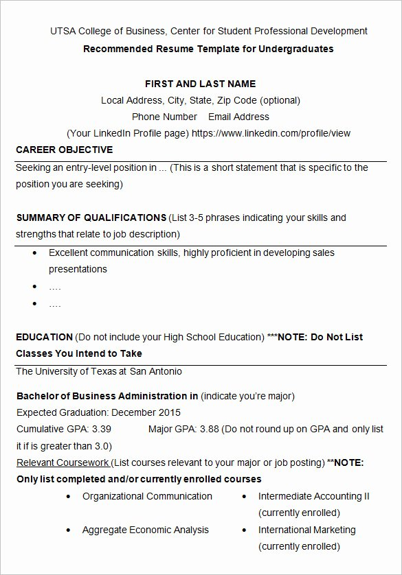 10 College Resume Template Sample Examples