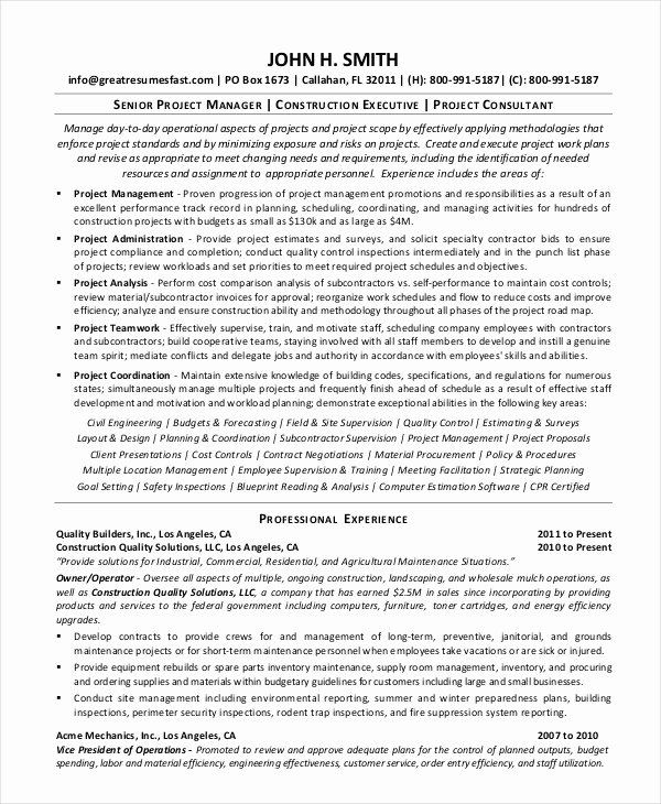 10 Construction Resume Example Pdf Doc