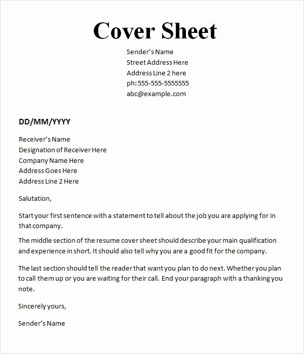 10 Cover Sheet Templates
